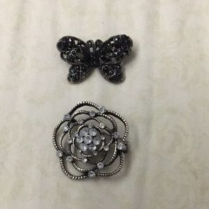 Jewelry - 2 brooches antique butterfly & flower black clear